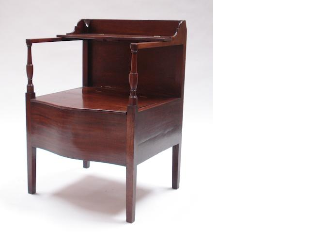 A 19th century mahogany commode chair