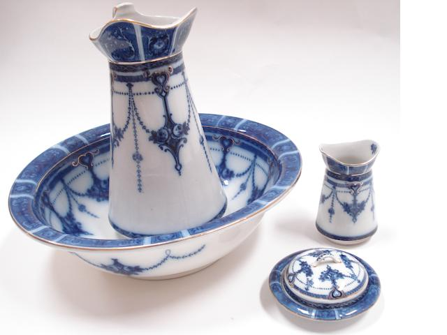 A Staffordshire blue-printed four piece wash setCirca 1890