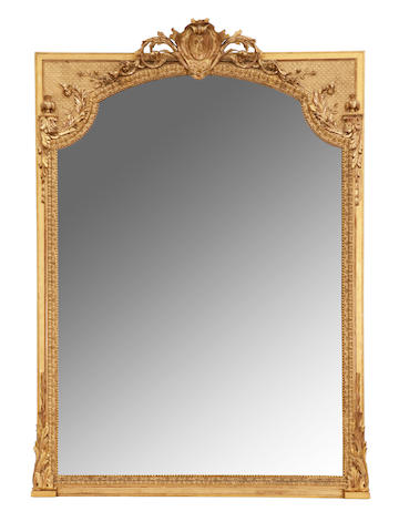 A Napoleon III giltwood and gesso overmantel mirror