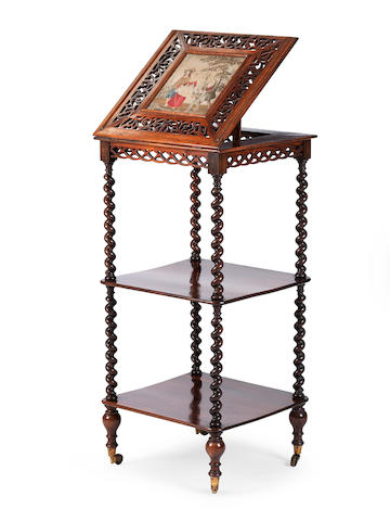 A Victorian rosewood reading stand and what-not