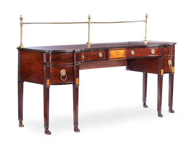 An unusual Regency mahogany, ebonised and penwork sideboard