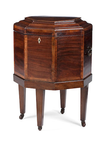 A Scottish George III and later mahogany, crossbanded and line inlaid cellaret