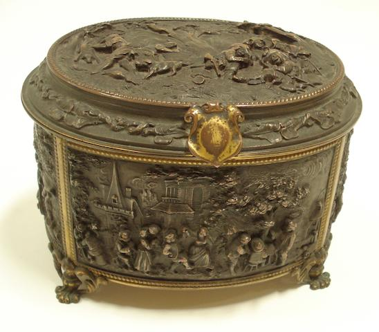 A late 19th century oval electrotype casket