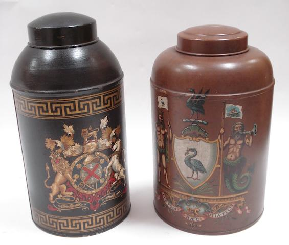 Two toleware canisters and covers