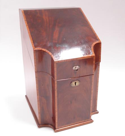 A George III mahogany and satinwood crossbanded knife box