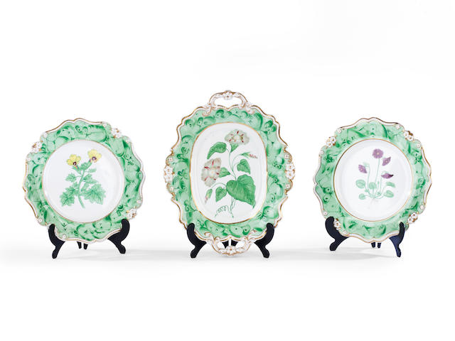 A Staffordshire bone china botanical dessert service, circa 1850
