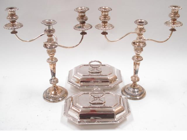 A pair of two light candelabra  (4)