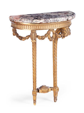 A French late 19th century giltwood pier tableStamped 'LEXCELLENT PARIS'