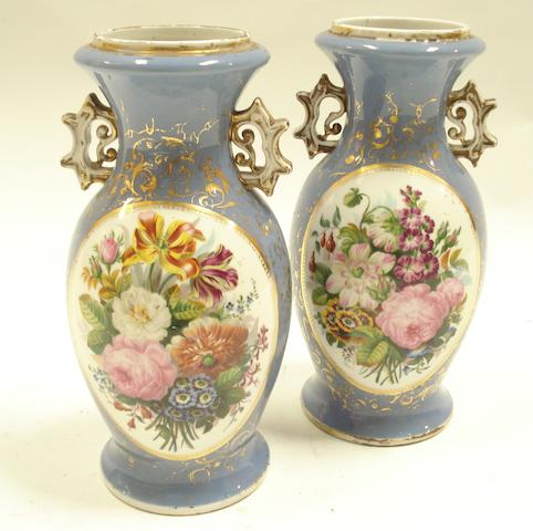 A pair of French 19th century porcelain vases