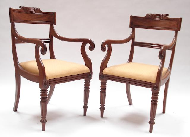 A pair of Scottish late Regency mahogany armchairs