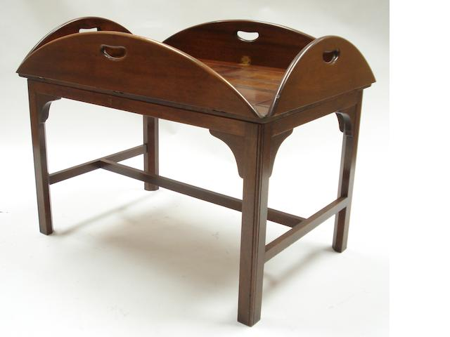 A 20th century mahogany folding butler's tray