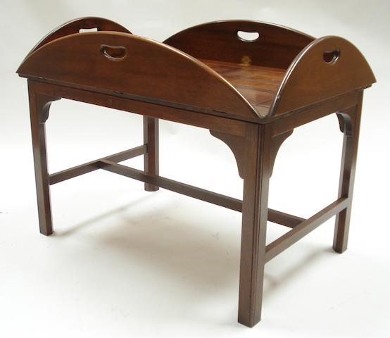A 20th century mahogany folding butler's tray