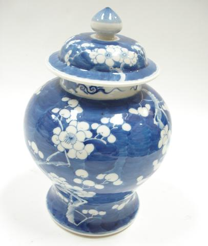 A late 19th century Chinese baluster vase and cover