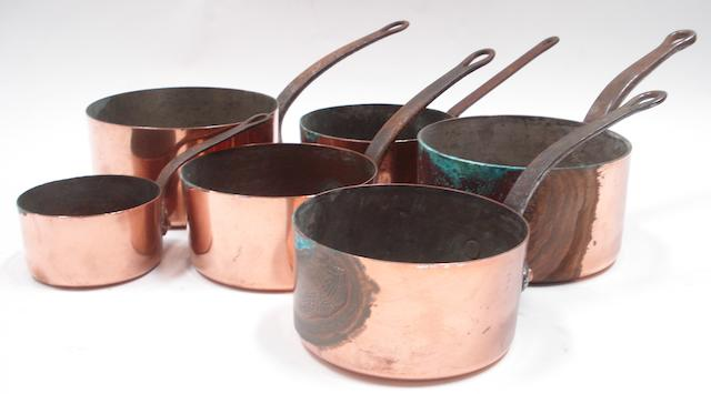 A copper batterie de cuisine