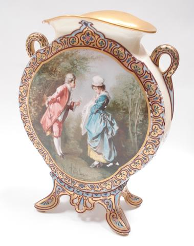 A late 19th century Dresden vase