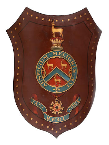 A large metal shield