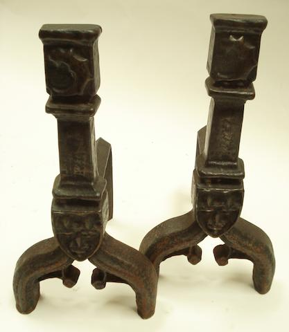 A pair of Gothic cast iron andirons
