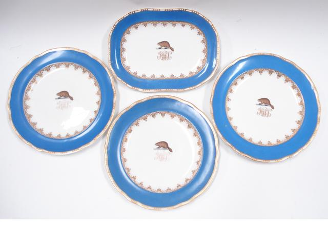 Three armorial bone china Copeland plates