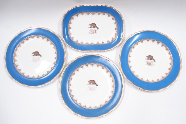 Three armorial bone china Copeland plates