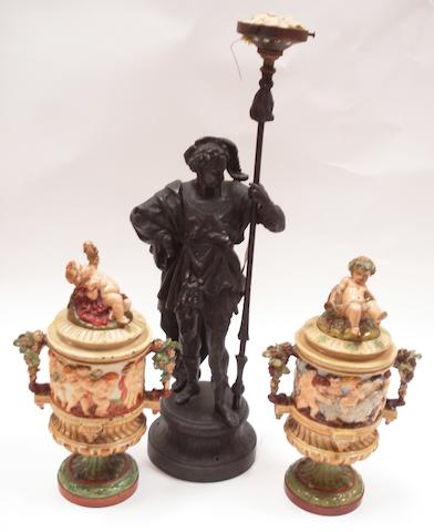 A spelter table lamp