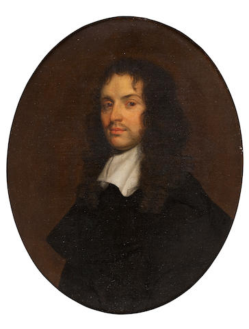 Circle of John Hayls (active England, circa 1600-1679) A gentleman wearing a black coat with a white collar