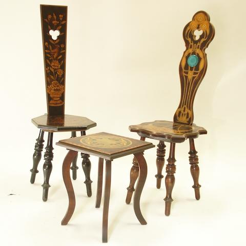 A Glasgow style penwork decorated spinning chair