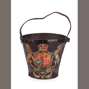 A 19th century painted leather fire bucket