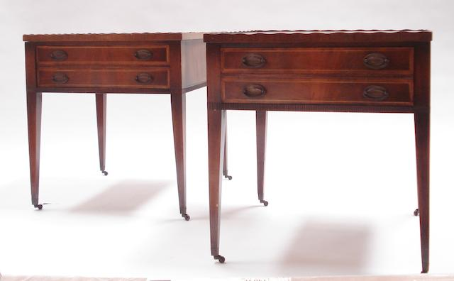 A pair of 20th century mahogany and boxwood inlaid square top side tables