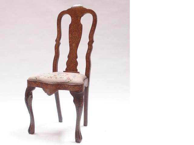 A Dutch walnut and floral marquetry inlaid side chair