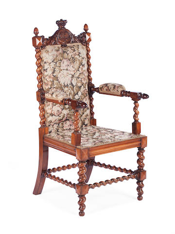 A late 19th century carved walnut armchair