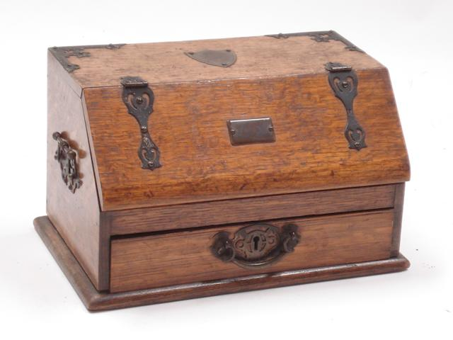 A Victorian oak table-top stationary boxStamped 'Rd.358974'