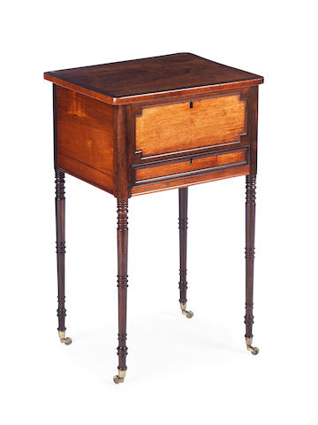 A Regency rosewood, burr yew cross-banded and brass lined work table