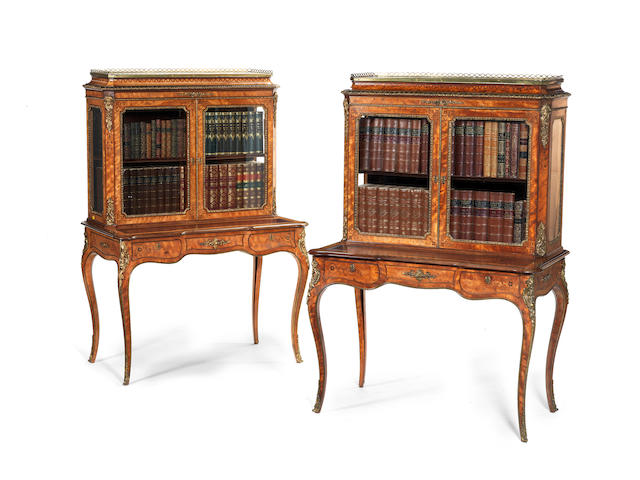 A pair of Victorian satinwood and purplewood banded floral marquetry bonheur du jours in the Louis XV style, applied with gilt metal mounts