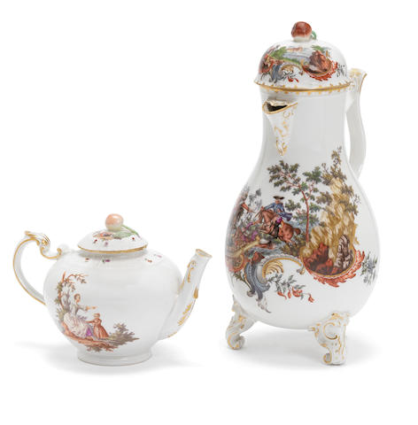 A Frankenthal coffee pot and cover, circa 1756-59, and a Ludwigsburg teapot and cover, circa 1770