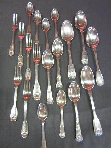 Twelve Victorian  silver Kings pattern dessert spoons Maker's mark 'Croydon', Exeter 1856  (34)
