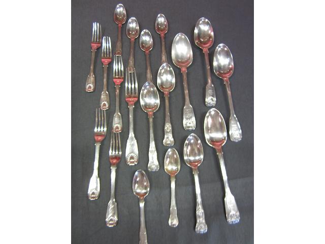 Twelve Victorian  silver Kings pattern dessert spoons Maker's mark 'Croydon', Exeter 1856  (34)