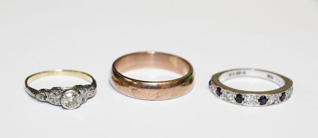 Two diamond set rings and a Welsh gold wedding ring, (3)