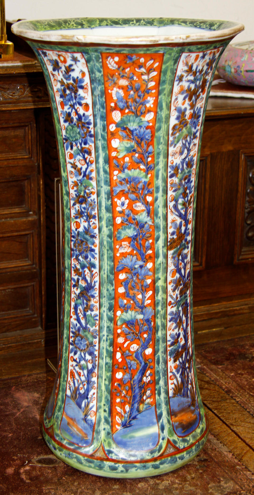 A pair Chinese tall flared vases/stick stands and a famille rose moon flask