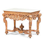 A William and Mary style carved giltwood and gesso centre table