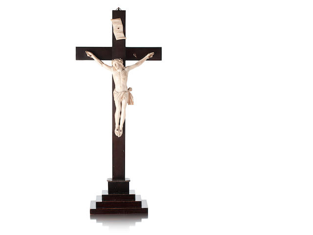 A 19th century Italian ivory crucifix, probably Italian