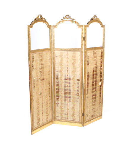 An Edwardian giltwood three-fold screen