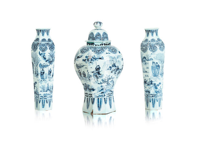 A Dutch delft garniture 18th century