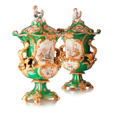 A pair of porcelain green ground vases and covers Circa 1840 Circa 1840