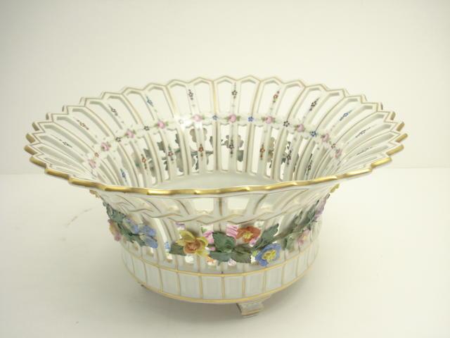 A Dresden Potschappel pierced circular basket Circa 1900