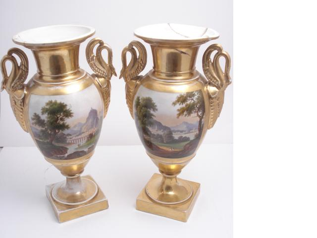 A pair of Paris porcelain vases Circa 1880