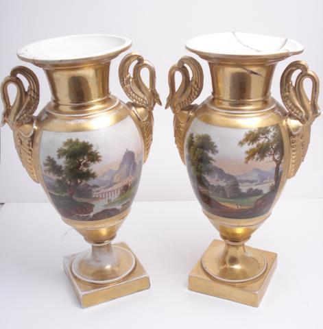 A pair of Paris porcelain vases Circa 1880