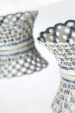 A pair of English blue and white pierced circular baskets Circa 1770