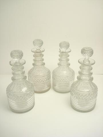 A set of four cut glass decanters and stoppers Circa 1870