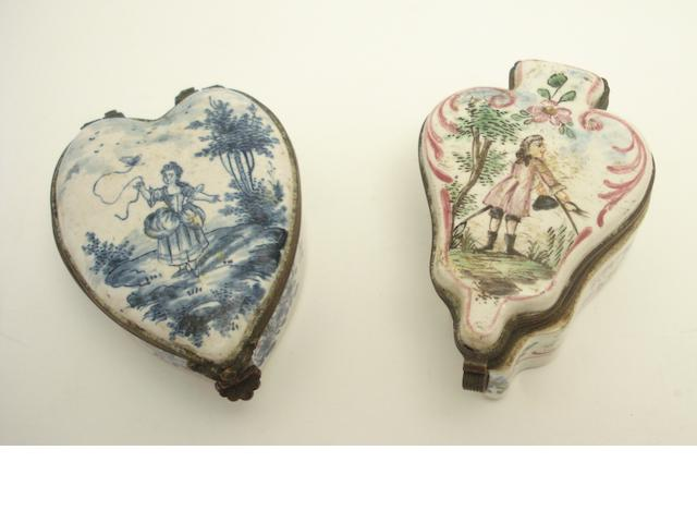 A faience blue and white heart shaped box 19th century