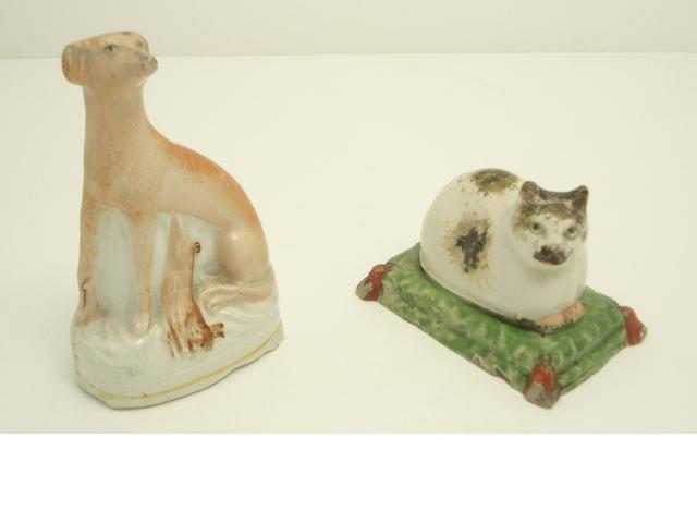An early Staffordshire figure of a cat Circa 1800